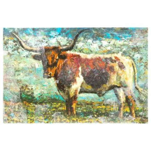 Texas Longhorn Colorful Canvas Art NWT